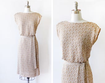 60s gold metallic dress, vintage 1960s dress, white and gold lurex knit wiggle dress, small s