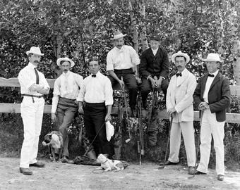 "1895-1910 Golfers at Mountain Golf Club, NH Vintage Photograph 13"" x 19"" Reprint"