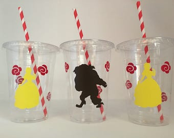 Beauty and the beast party cups, Belle party cups, Bell Party, Belle Birthday Party Cups