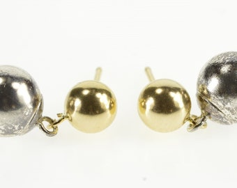 Sterling Silver Two Tone Tiered Ball Round Post Back Dangle Earrings