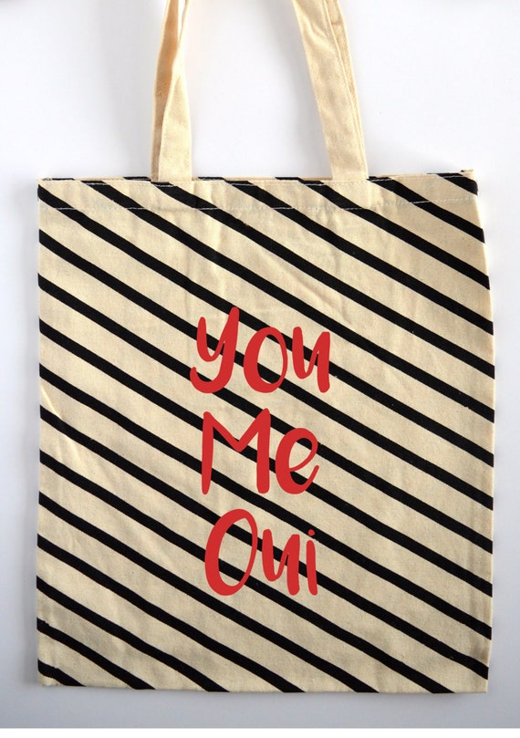 You, Me, Oui French Tote Bag - Canvas White and Black Stripes