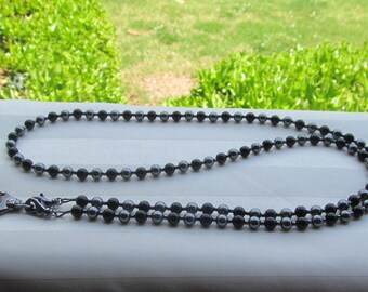 Black and Gray ID Badge Lanyard Swarovski Pearl Beaded Lanyard Necklace ID Badge Holder