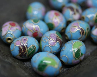 Chinese Cloisonne Beads 12x8mm Oval Turquoise Blue Cloisonne Bead Enamel Beads Metal Beads (4 beads) CL27
