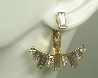 Sale  Ear Jacket Earrings - Double Earrings - Front Back Earrings - Post - Rhinestone Ear Jacket - Stud - Trending - Drop - Baguette