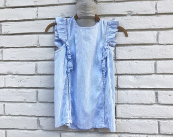 vintage blue and white striped ruffle shirt with detailing vintage 1960's