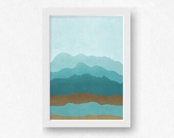 Minimal Art, Abstract Wall Art, Teal Wall Art, Modern Art Print, Art Print, Digital Download, Scandinavian Art, Minimalist Poster