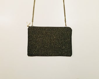 Clutch with detachable chain shoulder strap - model Philadelphia