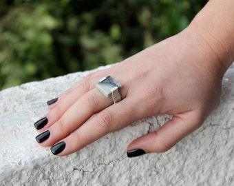 cement ring,silver ring,marble ring,square ring,geometric ring,jasper ring,statement ring,architectural ring