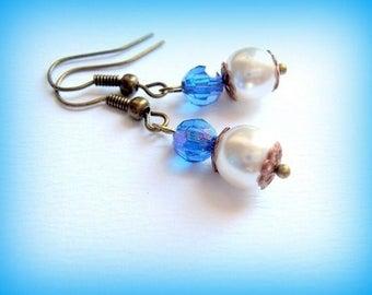 Earrings blue and ivory wedding handmade
