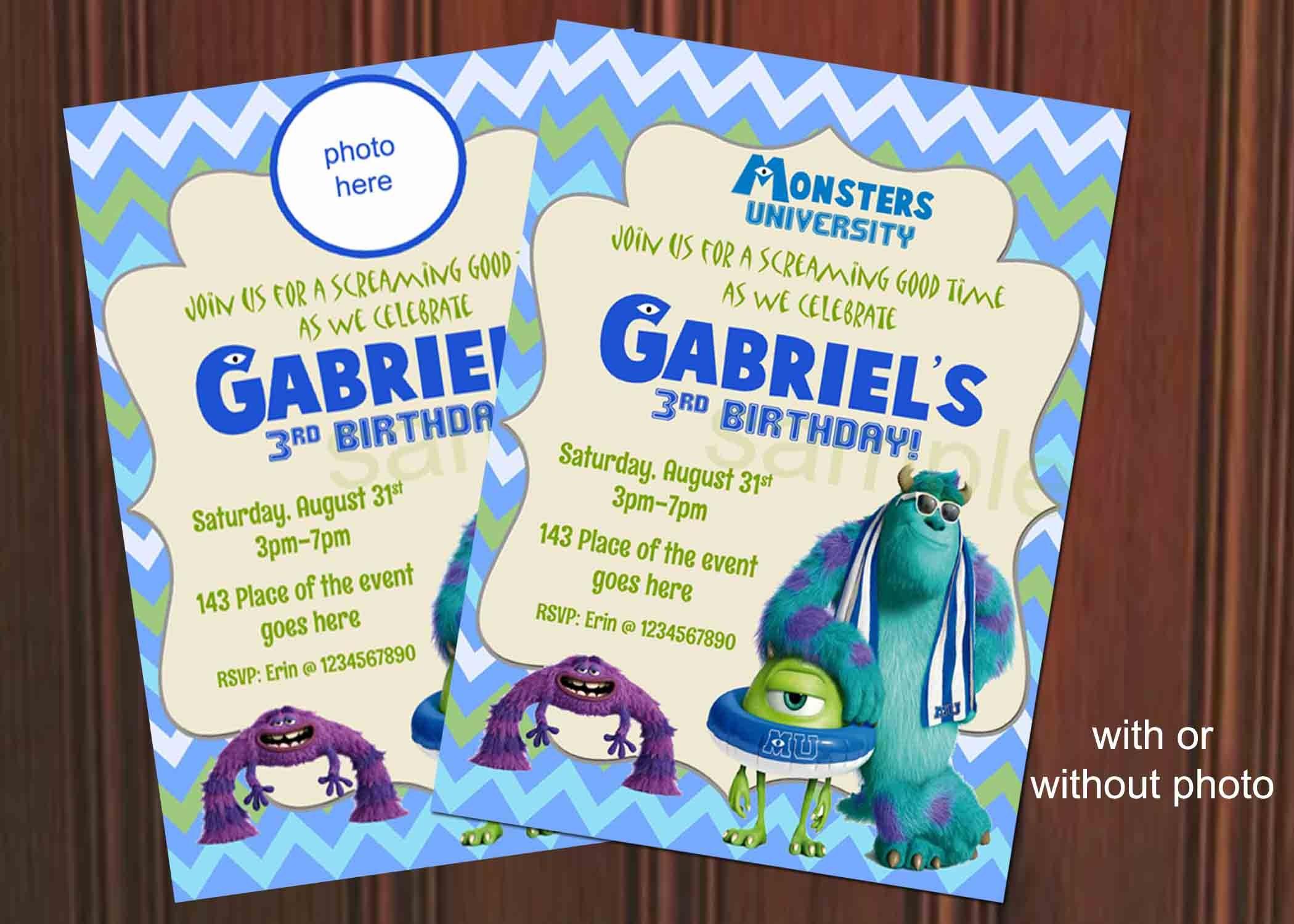 Monster Inc Invitation. Monster Inc Birthday Invitation.