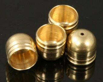 raw brass cord  tip ends, 15 pcs 7,9 X 7,8 mm 6,8 mm inner raw brass ribbon end, raw brass ends cap, findings ENC7 1499R