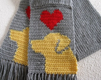 Yellow Labrador Retriever Scarf.  Gray, knit scarf with red hearts and yellow labs. Knitted dog scarf. Labrador gift