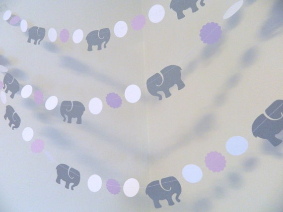 Elephant Baby Shower Decorations Lavender Gray Elephant