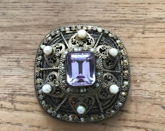 Vintage Amethyst Brooch or Pendant Pearl Gold Plated Argentium Silver Filigree Made in Israel February Birthstone