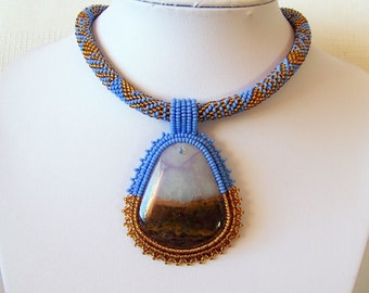 Bead Embroidery Statement Beadwork Pendant Necklace with Purple Lace Chalcedony - LILAC LAND - statement necklace