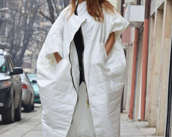 Asymmetric Ivory Sleeveless Coat, Extravagant Long Double Zipper Vest, Side Pockets Loose Vest by SSDfashion