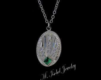 Vintage Inspired - Art Deco - Hand Engraved Pendant - Rainforest Topaz and CZ - Sterling Silver