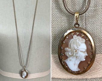 70s 80s Monet Cameo Locket with Long Snake Chain Necklace