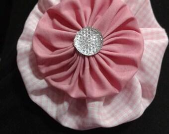 Pink flower barrette clip