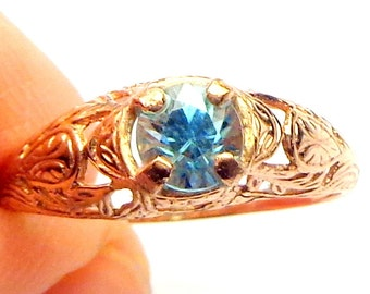Sz 6.5, Solid 10K Rose Gold Ring ,Blue Zircon, Natural Gemstone Ring, Sweetheart Gift, Promise Ring, Engagement Ring, Something Blue