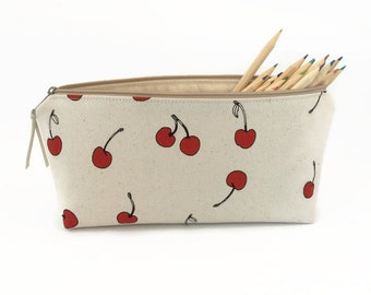 Pencil pouch, Red Cherries, Pencil zipper case, Desk accessory,  Pencil case, College student gift, Back to school supplies, Pencil bag