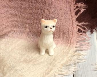 Miniature Cat Figurine. Small Porcelain Cat. Kitsch and Cute.