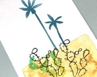 Desert palm - OOAK - original print/illustration // wall art, home decor, art, miniprint,
