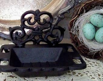 Black Cast Iron Dish, Business Card Holder, Jewelry Holder, Victorian Style Dish, Black Cast Iron, Soap Dish, Ornate Soap Dish, Farmhouse