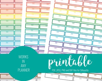RAINBOW Due Stickers, Printable Due Stickers, Blank Due Stickers, Printable Planner Stickers, ECLP, MAMBI Stickers