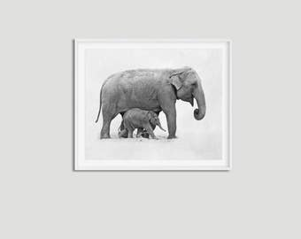 Baby elephant print • Elephant wall art Baby animal art Elephant printable Elephant decor Elephant poster Elephant baby room Safari art