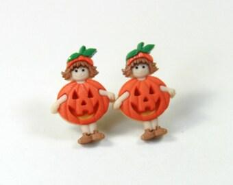 Pumpkin earrings, pumpkin boy stud earrings, Pumpkin earrings, Halloween earrings, Thanks giving earrings, Stud earrings, Orange earrings