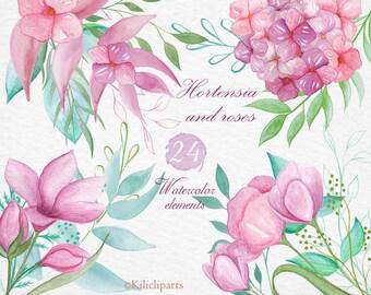 watercolor Hortensia, 24 floral elements, Hydrangea clipart, flowers clip art, separate flowers, diy art, wedding invitation.