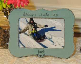 Daddy little boy frame Fathers day gift dad papa daddy apa Personalized Custom photo picture frame son daughter father groom wedding gift