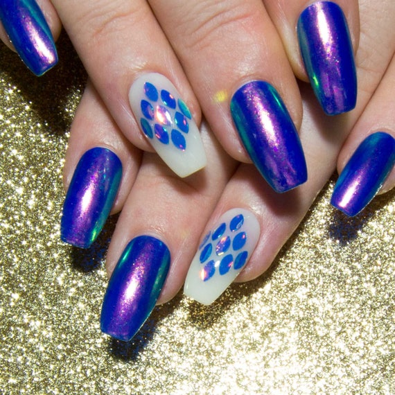 Iridescent Fake Nails Press On Nails Blue Unicorn Acrylic