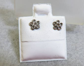 Teeny Tiny Sterling Flower Pierced Earrings, Vintage