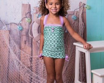 Retro Ruched Swimsuit in Mermaid: 2018 Collection (Size 2 - 12)