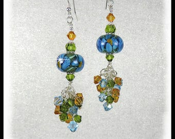 2262, Blue Iris Lampwork earrings, cluster earrings, crystal earrings, blue earrings, artisan lampwork beads, beaded earrings,