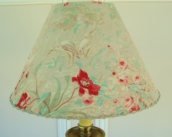 1900's fabric lampshade, Antique French fabric, Shabby chic, Antique floral fabric, Bird fabric, Herons, Faded florals, French lamp shade