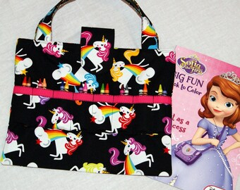 Unicorn Tote  Child's Art and Crafts Bag  Black  Hot Pink  Girl Birthday Gift Coloring Book and Crayon Caddy  Road Trip Organizer