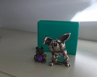 2 Vintage Fireball Crystals, Mommy Pig & Piglet Mark Models c1980s.