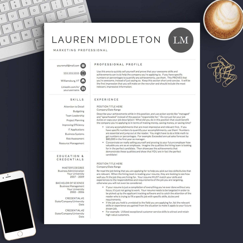 Professionellen Lebenslauf Vorlage für Word & Seiten 1 2