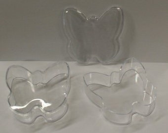 """3.5"""" Clear Plastic Butterfly Box & Lid - Package of 24 - Wedding Party Favor Idea"""