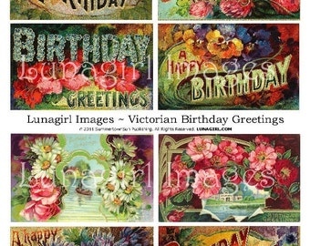 Vintage BIRTHDAY CARDS digital collage sheet,  Victorian flowers pansies daisies, antique greeting cards, art shabby chic ephemera DOWNLOAD