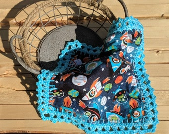 Space lovey blanket with crochet edges| space security blanket with crochet edges