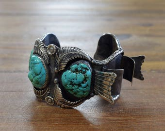 Sterling Silver and Turquoise Nugget Men's Side Mount Watch Cuff