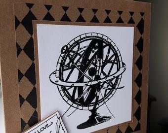 Dad's card. Fathers day card. Male card. World globe. Steampunk globe