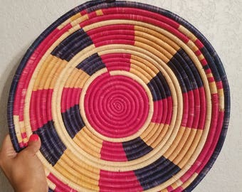 Multicolored woven basket