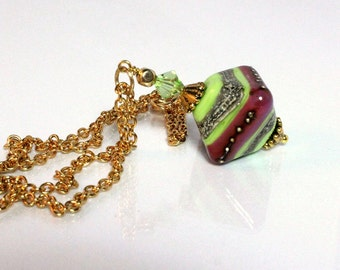 Lampwork and Swarovski Crystal Pendant Coleus Colors N1278