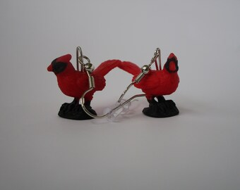 Red Cardinal Bird Dangle Earrings (Sterling Silver or Nickle Free)