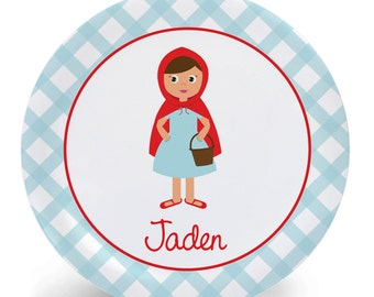 Little Red Riding Hood Plate or Bowl - Child's Plate - Child's Bowl - Melamine Bowl or Plate Personalized (Plastic)